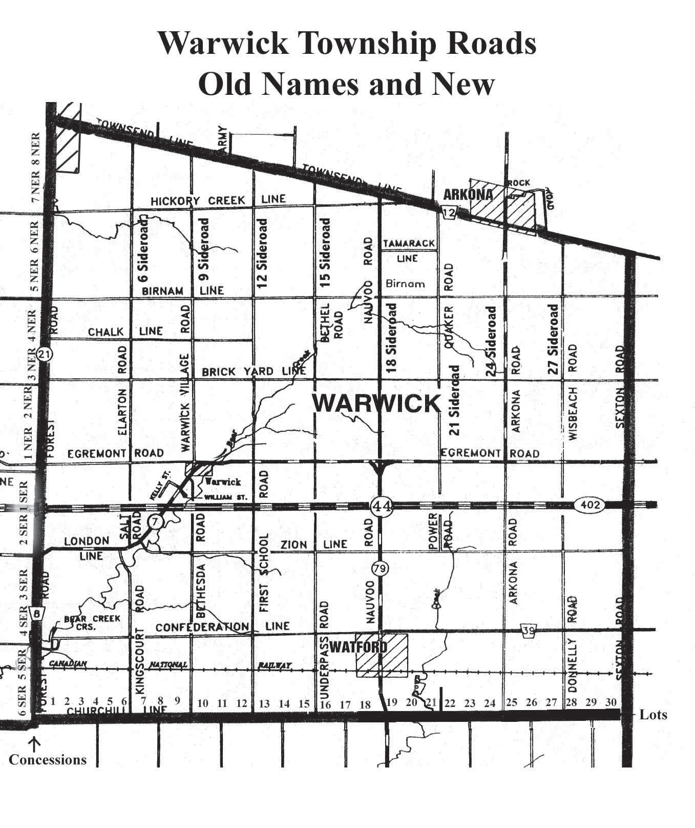 Warwick Township Roads, Old Names and New