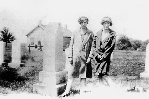 Helen and Margaret Wambaugh at the Mennonite Church and Cemetery, 1930s. courtesy W Dunlop