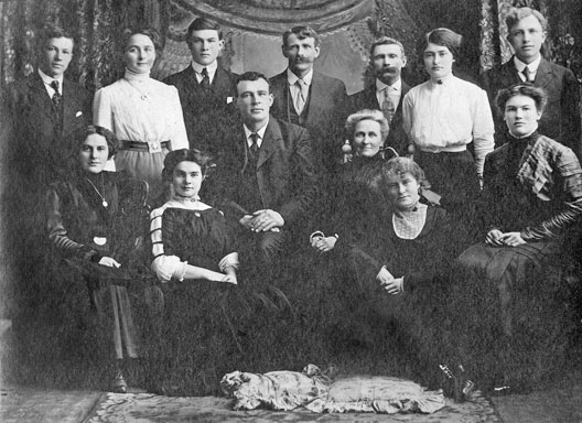 Bethesda Methodist Episcopal Church. Back row: Russel Shea, Lillia ( Saunders) Capes, Clifford Sisson, Herbert Holbrook, Arthur Higgins, Rea (Holbrook) Griffith, ? Front: Ethel Sisson, Olive (Capes) Moffatt, ? James, Mrs. Emma Saunders, Meryl (Holbrook) Sisson, Gertrude Sisson. courtesy D Johnson
