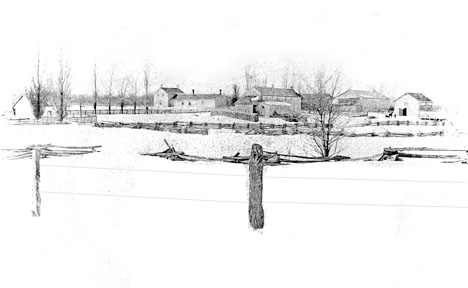 Pen and ink drawing of Carl Bryson farm on Arkona Rd.: The drawing shows a number of outbuildings, rail fences and the old brick cheese house that is still standing. Photo courtesy of L Bryson