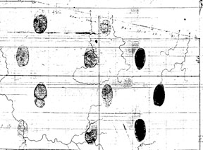 Thumbprint map showing Clergy and Crown Reserves, Warwick Twp., c. 1832: This is a portion of the northeast quadrant of the township.