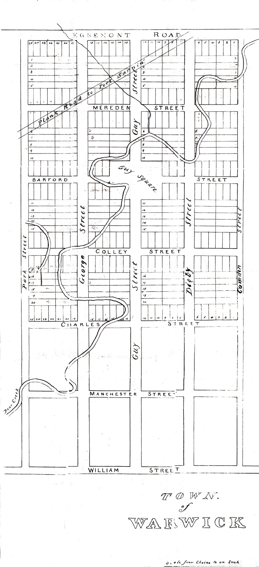 Warwick Village survey, c. 1834: Warwick Village was laid out as a town south of the Egremont Rd. This map also shows the Plank Rd. to Port Sarnia, established in 1846 to connect Warwick to Sarnia. courtesy P Evans