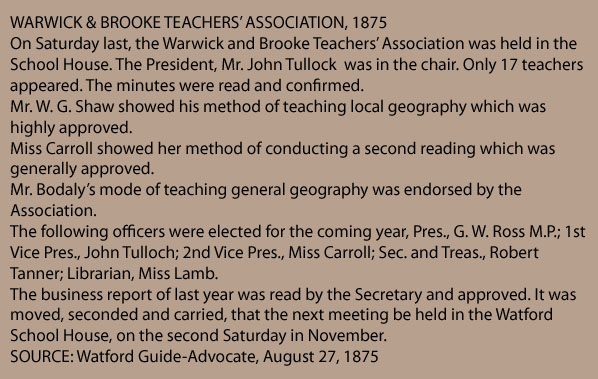 Warwick & Brooke Teachers Association, 1875