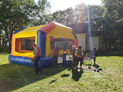 Bounce house outside.