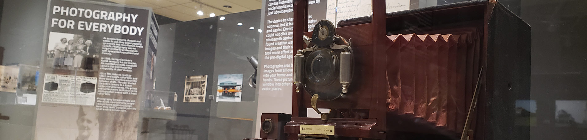 Old camera on display.