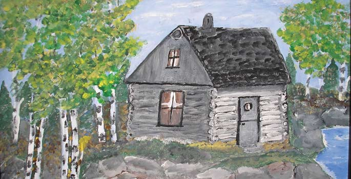 White log house painting.