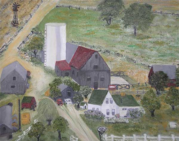 Painting of a farm.