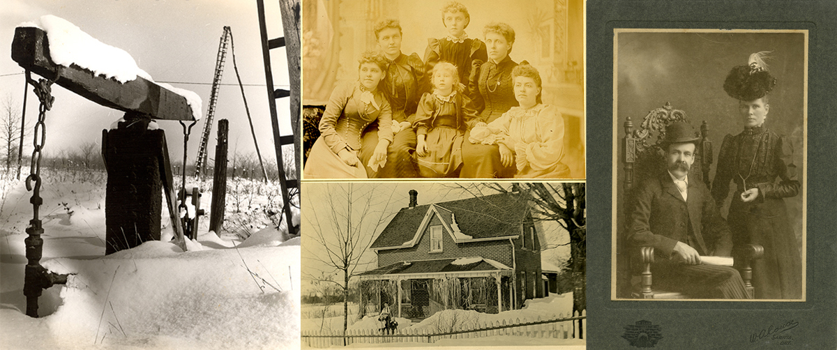 Four images, jackpump, man sitting and lady standing, four women and a child sitting, women and child walking from house.