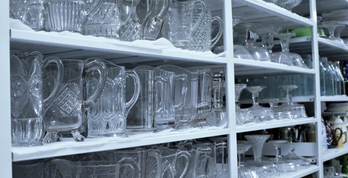 Pressed glass in storage.