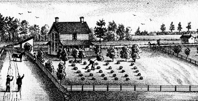 Black and white drawing of a farm.