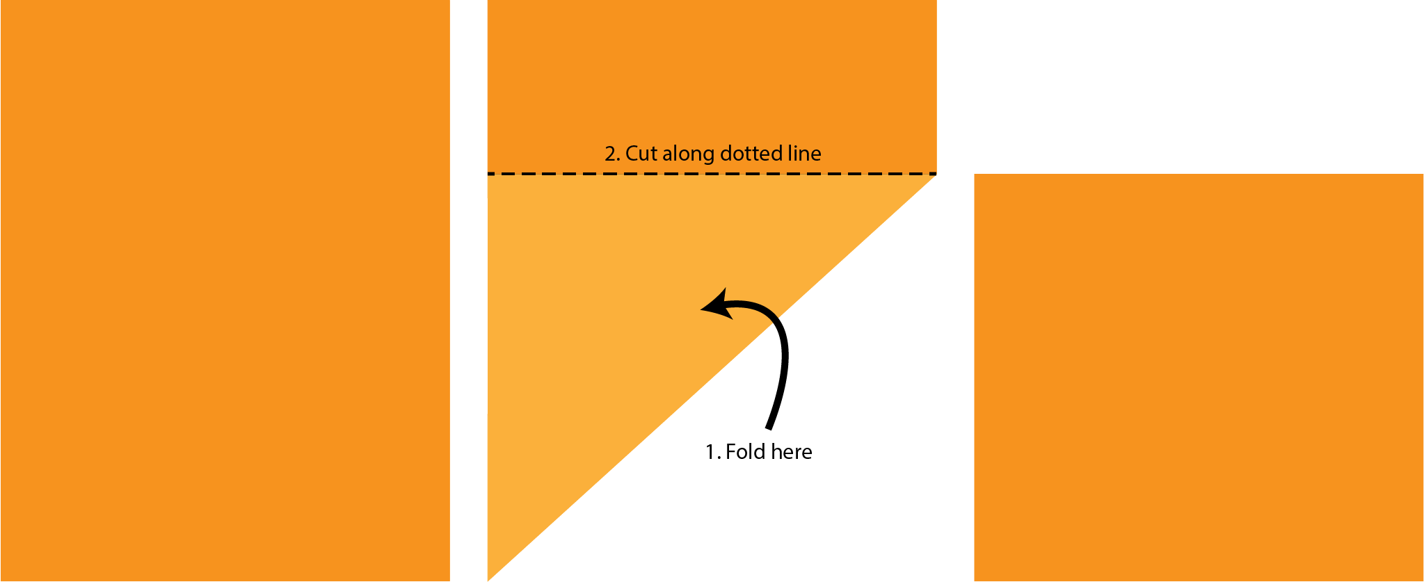 "Orange rectangles with text ""2. Cut along dotted line"", ""1. Fold here""."