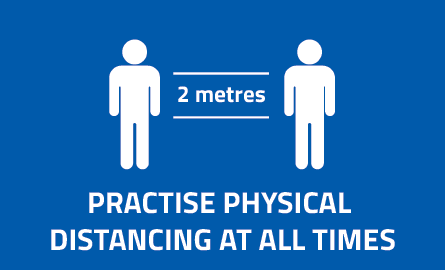 "Physical distancing icons with text ""Practice physical distancing at all times""."