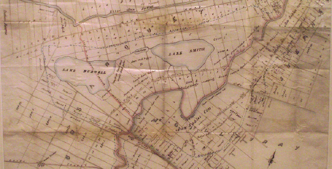 an old map showing where Lake Smith use to be.