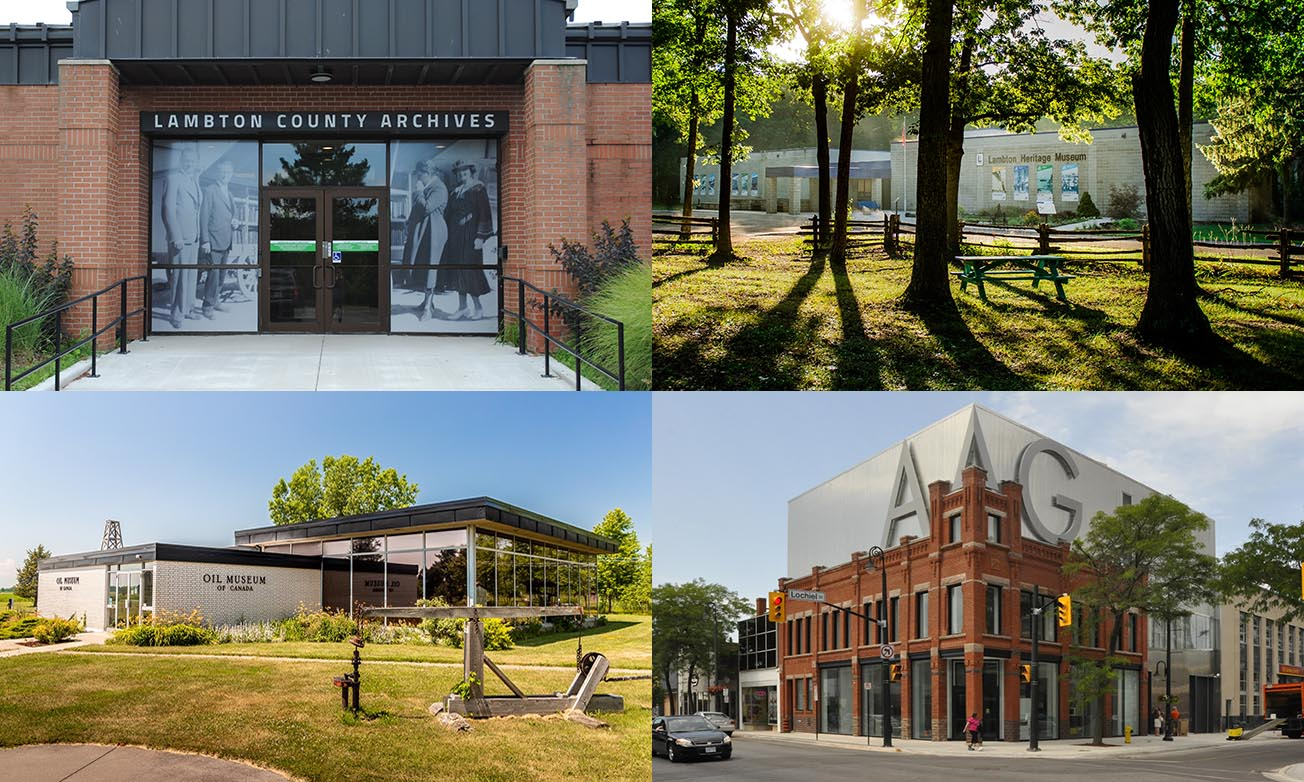 Four images. Top left - red brick building with black and white images of people on either side of door with green sign with text,
