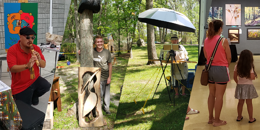 Four sections - First section has a man using a recorder, second section has a man standing beside a tree with a wood craft, third section has a lady standing in front of an hold camera with an umbrella above her, Fourth section has a woman and child standing in front of a painting.