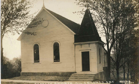 Black and white image of a church.