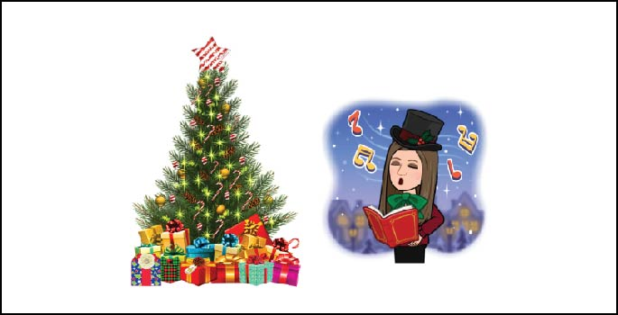 Cartoon of Christmas tree and caroler.