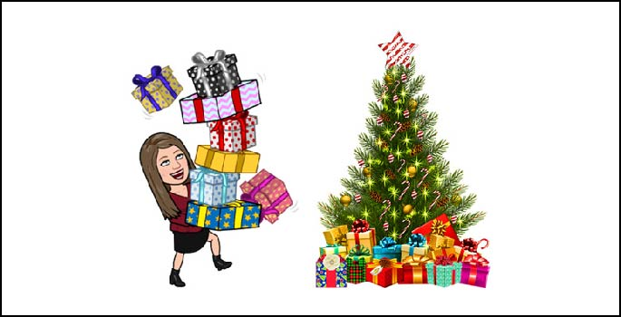 Bitmoji holding presents next to a Christmas tree.