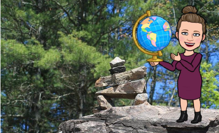 Cartoon lady standing on a rock holding a globe.